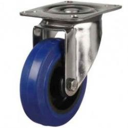 200mm medium duty Stainless Steel swivel castor blue elastic rubber wheel