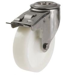 160mm Light Duty Nylon Bolt Hole Braked Castors - 350kg capacity