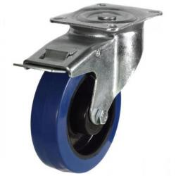 200mm Blue Elastic Rubber Braked Castor Up To 350kg Capacity