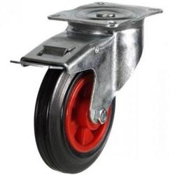 160mm medium duty braked castor rubber wheel