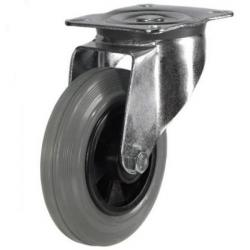 160mm medium duty swivel castor grey rubber wheel
