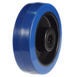 200mm / 400kg Blue Synthetic Rubber on Nylon Centre Wheel (Roller Bearing)