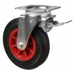 200mm Rubber Tyre On Steel Disk Centre Braked Castors