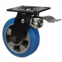 160mm Heavy Duty Elastic Polyurethane On Aluminium Centre 80 Shore A Braked Castors