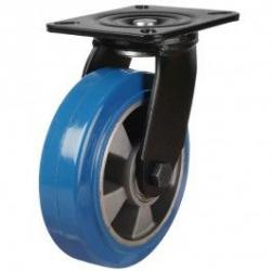 200mm Heavy Duty Elastic Polyurethane On Aluminium Centre 80 Shore A Swivel Castors