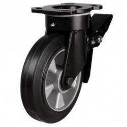 200mm Heavy Duty Elastic Rubber On Aluminium Centre Braked Castors