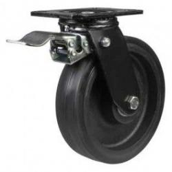 200mm Heavy Duty Elastic Rubber On Cast Iron Core Braked Castors