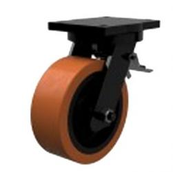 200mm Extra Heavy Duty Polyurethane On Cast Iron Core Braked Castors