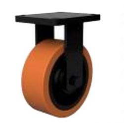 200mm Extra Heavy Duty Polyurethane On Cast Iron Core Fixed Castors