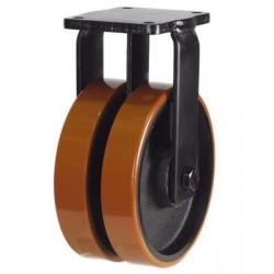 200mm Extra Heavy Duty Polyurethane on Cast Iron Twin Wheel Fixed castors - 2000kg capacity