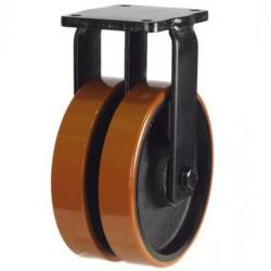 250mm Extra Heavy Duty Polyurethane on Cast Iron Twin Wheel Fixed castors - 2000kg capacity