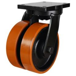250mm Extra Heavy Duty Polyurethane on Cast Iron Twin Wheel Swivel castors - 2000kg capacity
