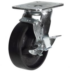 200mm Heavy Duty Cast Iron Braked castors - 500kg capacity