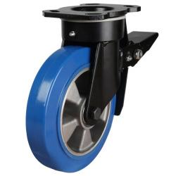 200mm Elastic Polyurethane On Aluminium Centre 80 Shore A Braked Castors