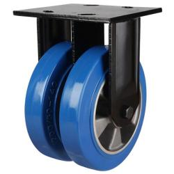 200mm Heavy Duty Elastic Polyurethane On Aluminium Centre Fixed Castors