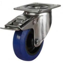 200mm Heavy Duty Elastic Rubber On Nylon Centre Non-Marking Heavy Duty Braked Castors