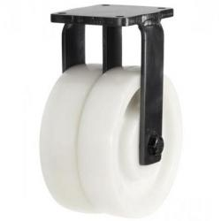 200mm Heavy Duty Nylon Twin Wheel Fixed castors - 2000kg capacity