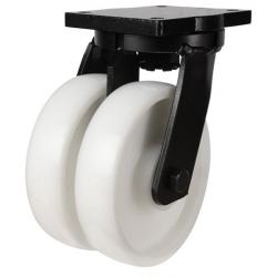 200mm Heavy Duty Nylon Twin Wheel Swivel castors - 2000kg capacity