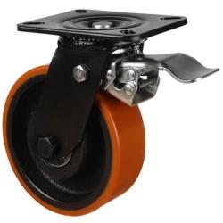 200mm Heavy Duty Polyurethane On Cast Iron Core Braked Castors