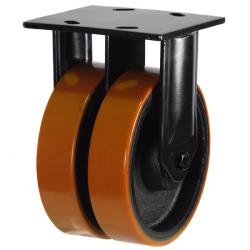 200mm Heavy Duty Polyurethane On Cast Iron Core Fixed Castors