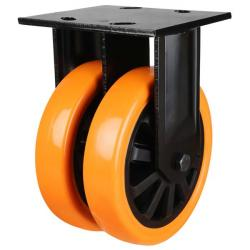 200mm Heavy Duty Polyurethane On Nylon Centre Fixed Castors