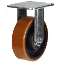 200mm Heavy Duty Polyurethane on Cast Iron Fixed castors - 500kg capacity
