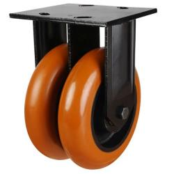 200mm Heavy Duty Round Profile Polyurethane On Cast Iron Core Fixed Castors