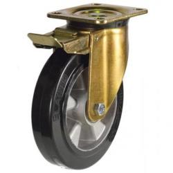 200mm Heavy Duty Rubber on Aluminium Braked castors - 450kg capacity