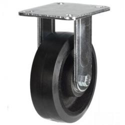 200mm Heavy Duty Rubber on Cast Iron Fixed castors - 500kg capacity