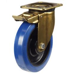 200mm Heavy Duty Rubber on Nylon Braked castors - 350kg capacity