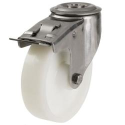 200mm Light Duty Nylon M12 Bolt Hole Braked castors - 350kg capacity
