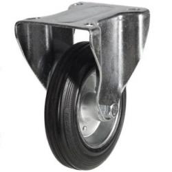 200mm Light Duty Rubber on Steel Fixed castors - 205kg capacity