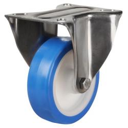200mm Medium Duty Elastic Polyurethane On Nylon Centre Stainless Steel Fixed Castors