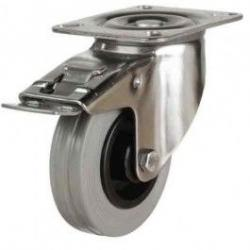 200mm Medium Duty Non-Marking Rubber Stainless Steel Braked Castors