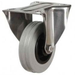 200mm Medium Duty Non-Marking Rubber Stainless Steel Fixed Castors