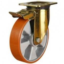 200mm Polyurethane On Aluminium Centre Braked Castors