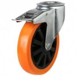 200mm Polyurethane On Nylon Braked Castors