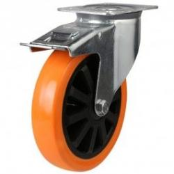 200mm medium duty braked castor poly/nylon wheel