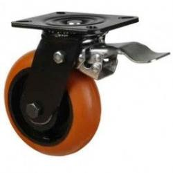 200mm Heavy Duty Round Profile Polyurethane On Cast Iron Core Braked Castors