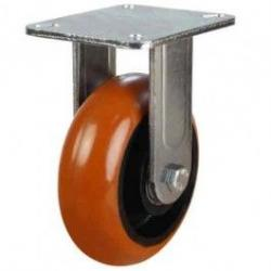 200mm Round Profile Polyurethane On Cast Iron Core Fixed Castors