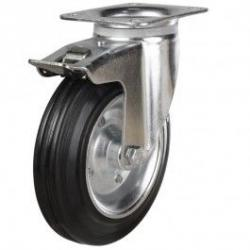200mm Rubber Tyre On Steel Disk Centre & Rubber Tyre On Plastic Braked Castors