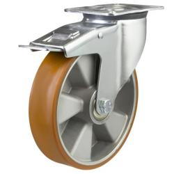 200mm medium duty braked castor poly/alley wheel