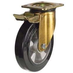 250mm Heavy Duty Elastic Rubber On Aluminium Centre Braked Castors