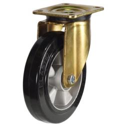 250mm Heavy Duty Elastic Rubber On Aluminium Centre Swivel Castors