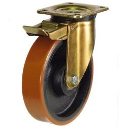 250mm Heavy Duty Polyurethane On Cast Iron Core Braked Castors