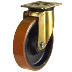250mm Heavy Duty Polyurethane On Cast Iron Core Swivel Castors
