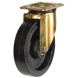 250mm Heavy Duty Rubber On Cast Iron Core Swivel Castors