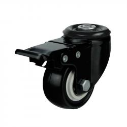 50mm / 40kg Black Poly Nylon Wheel on Bolt Hole Braked Castor