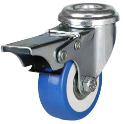 50mm Light Duty Polyurethane On Nylon Bolt Hole Braked Castors