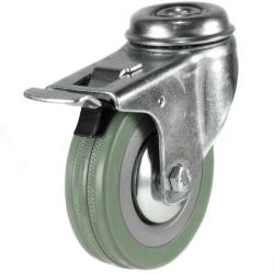 50mm Synthetic Grey Rubber Bolt Hole Braked Castor Up To 40kg Capacity
